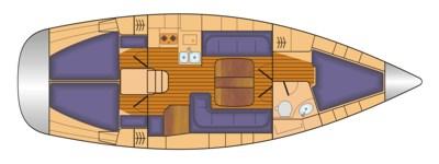 Grundriss und Kojenaufteilung Bavaria 38 cruiser