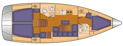 Grundriss und Kojenaufteilung Bavaria Cruiser 40