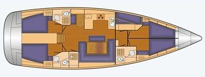 Grundriss und Kojenaufteilung Bavaria Cruiser 50