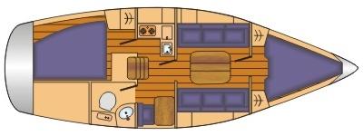 Grundriss und Kojenaufteilung Bavaria 31 cruiser