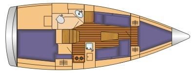 Grundriss und Kojenaufteilung Bavaria Cruiser 33