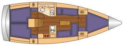 Grundriss und Kojenaufteilung Bavaria Cruiser 37 (14-17)