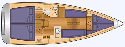 Grundriss und Kojenaufteilung Sun Odyssey 349