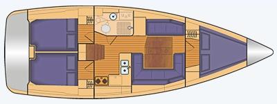 Grundriss und Kojenaufteilung Sun Odyssey 389