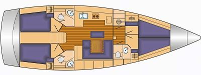 Grundriss und Kojenaufteilung Bavaria Cruiser 45