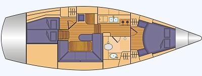 Grundriss und Kojenaufteilung Vilm 41 DS