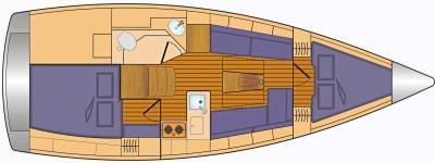 Grundriss und Kojenaufteilung Bavaria Cruiser 34 - 2 Kab. (18-20)