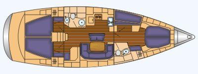 Grundriss und Kojenaufteilung Bavaria 46 cruiser