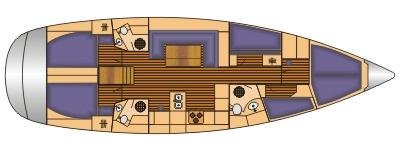 Grundriss und Kojenaufteilung Bavaria 51 cruiser
