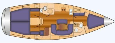 Grundriss und Kojenaufteilung Bavaria 40 cruiser