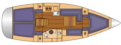 Grundriss und Kojenaufteilung Bavaria 35 cruiser